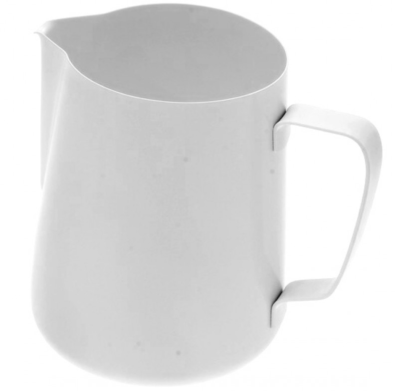 Konvička na mléko PTFE+Stainless Steel Aisi 202 - bílý teflonový povrch 100ml