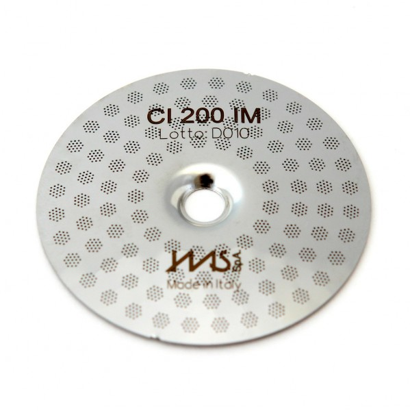IMS CI 200 IM precizní sítko sprchy hlavy kávovaru ø 51.5 mm se středovým otvorem 5mm, 98 otvorů ø 3mm, Aisi 301 Stainless Steel, Food Safe Certified, integrovaná membrána 200 µM