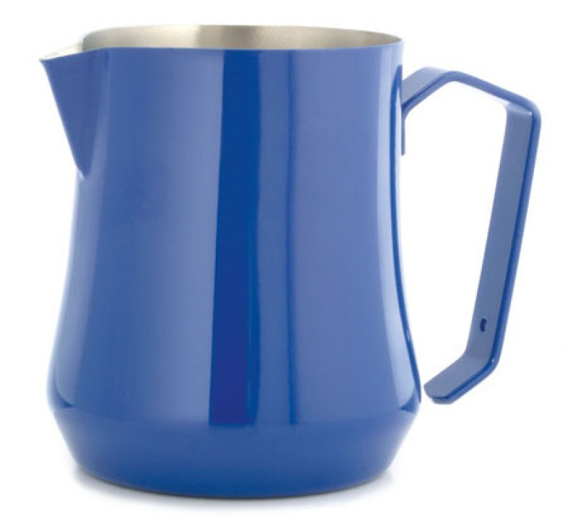 Konvička na mléko MOTTA TULIP Satin Stainless Steel Inside s hubičkou - modrý lakovaný povrch 500ml