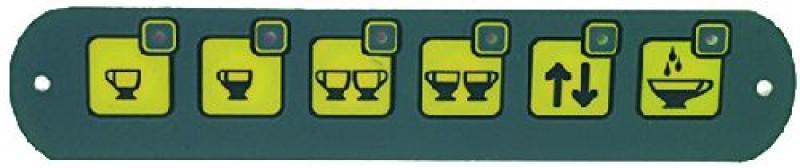 Panel ovládacích tlačítek kávovaru Fiorenzato Fenice, membránové, 6 tlačítek