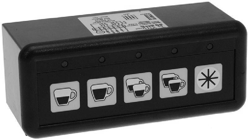 Panel ovládacích tlačítek Control Box Univesal pro více druhů kávovarů včetně ovládacího panelu, membránové, 5 tlačítek, 230V