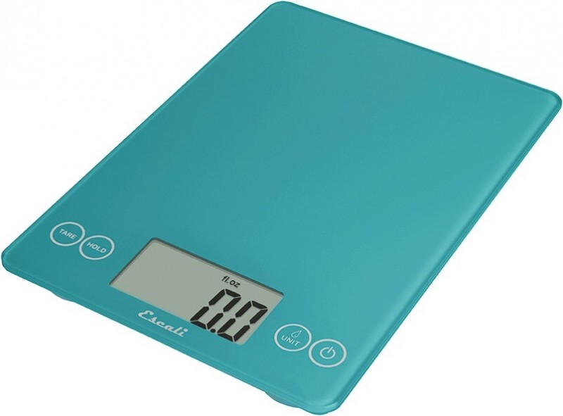 Digitální horizontální váha ESCALI v provedení PEACOCK BLUE s váživostí 0g - 7000g/15LB/248OZ a přesností vážení 1g
