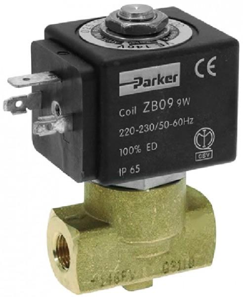 PARKER - elektromagnetický ventil dvoucestný - kompletní včetně cívky ventilu PARKER/LUCIFER ZB09 220/240V, 9W, 50Hz, ochrana IP65