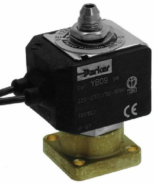 PARKER - elektromagnetický ventil trojcestný - kompletní včetně cívky ventilu PARKER/LUCIFER YB09 220/230V, 9W, 50/60Hz, ochrana IP67