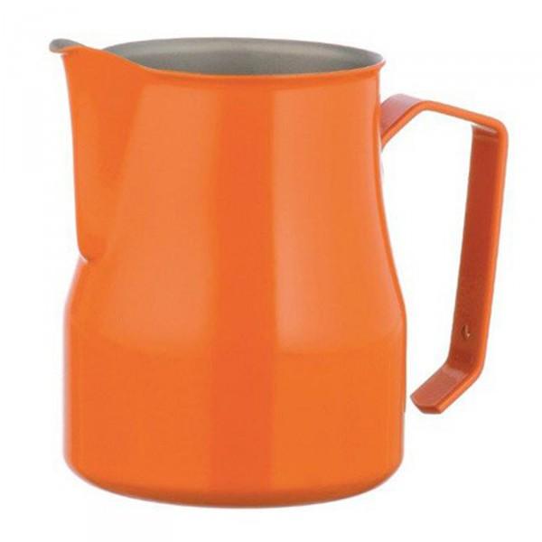 Konvička na mléko MOTTA EUROPA PTFE+Stainless Steel s hubičkou - oranžový teflonový povrch 350ml