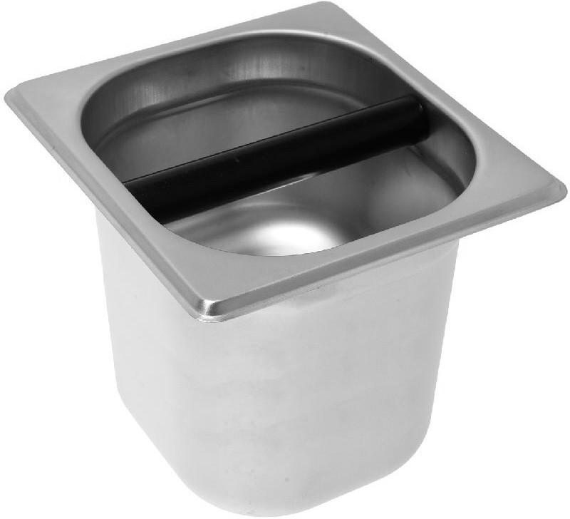 Odklepávací nádoba na kávu KNOCKBOX Stainless Steel, materiál nerez, Made in Italy, rozměr 170x160x150, podstavné i vestavné použití