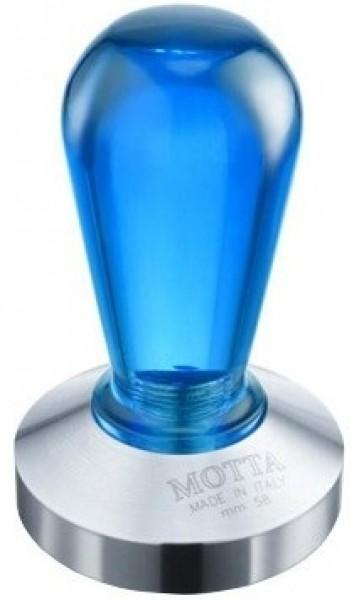 Tamper MOTTA s plochým dnem Colour Rinbow Blue and Stainless Steel Flat Bottom ø 58 mm