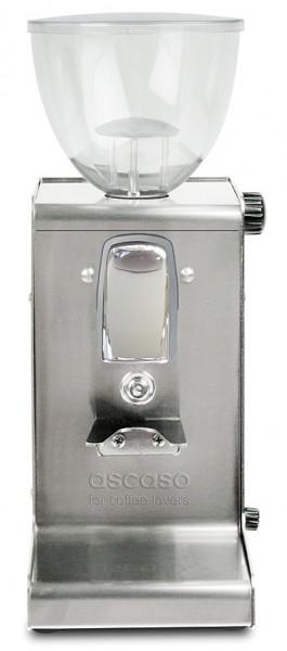 Profesionální nerezový přímý mlýnek na kávu Ascaso i-Steel s plochými kameny bez časovače kartáčovaný nerez v novém provedení
