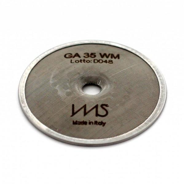 IMS GA 35 WM precizní sítko sprchy hlavy kávovaru ø 55 mm se středovým otvorem 5mm, 120 otvorů ø 2,5mm, Aisi 316 Stainless Steel, Food Safe Certified, integrovaná membrána 35 µM