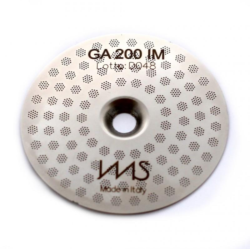 IMS GA 200 IM precizní sítko sprchy hlavy kávovaru ø 55 mm se středovým otvorem 5mm, 98 otvorů ø 3mm, Aisi 316 Stainless Steel, Food Safe Certified, integrovaná membrána 200 µM
