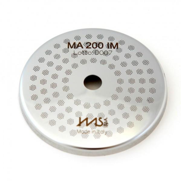 IMS MA 200 IM precizní sítko sprchy hlavy kávovaru ø 56.5 mm se středovým otvorem 7mm, 98 otvorů ø 3mm, Aisi 316 Stainless Steel, Food Safe Certified, integrovaná membrána 200 µM