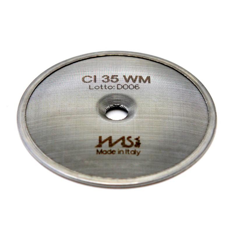 IMS CI 35 WM precizní sítko sprchy hlavy kávovaru ø 51.5 mm se středovým otvorem 5mm, 119 otvorů ø 2mm, Aisi 304 Stainless Steel, Food Safe Certified, integrovaná membrána 35 µM