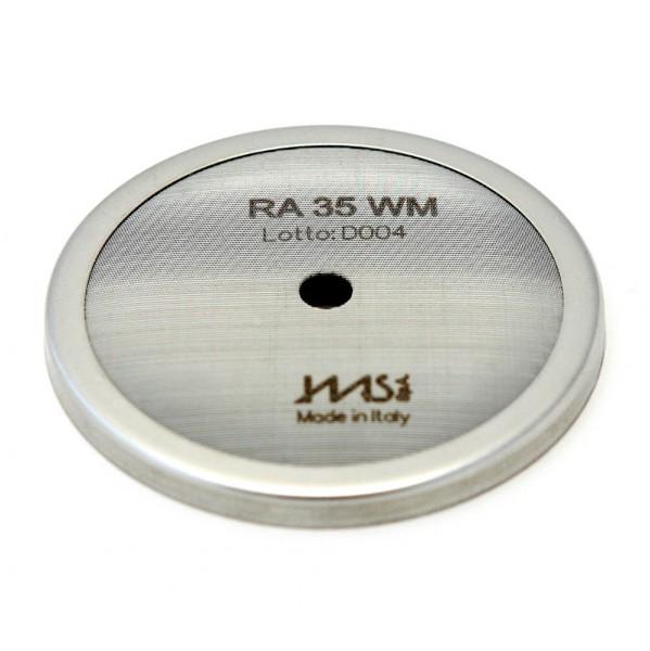 IMS RA 35 WM precizní sítko sprchy hlavy kávovaru ø 57 mm se středovým otvorem 5,5mm, 112 otvorů ø 2mm, Aisi 304 Stainless Steel, Food Safe Certified, integrovaná membrána 35 µM