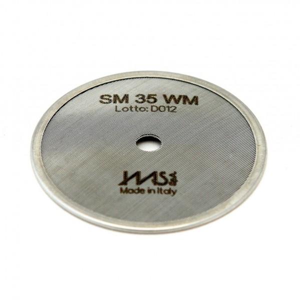 IMS SM 35 WM precizní sítko sprchy hlavy kávovaru ø 48 mm se středovým otvorem 5mm, 80 otvorů ø 2mm, Aisi 304 Stainless Steel, Food Safe Certified, integrovaná membrána 35 µM