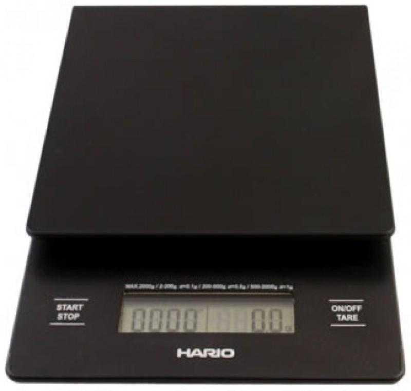 Digitální horizontální váha na kávu HARIO VST-2000B s časovačem, váživostí 0g - 2000g a přesností vážení 0,1g