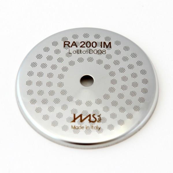 IMS RA 200 IM precizní sítko sprchy hlavy kávovaru ø 57 mm se středovým otvorem 5,5mm, 98 otvorů ø 3mm, Aisi 316 Stainless Steel, Food Safe Certified, integrovaná membrána 200 µM