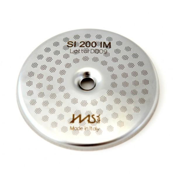 IMS SI 200 IM precizní sítko sprchy hlavy kávovaru ø 56.5 mm se středovým otvorem 6mm, 98 otvorů ø 3mm, Aisi 316 Stainless Steel, Food Safe Certified, integrovaná membrána 200 µM