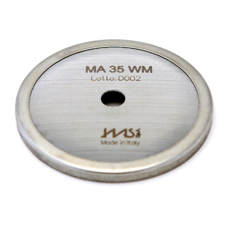 IMS MA 35 WM precizní sítko sprchy hlavy kávovaru ø 57.5 mm se středovým otvorem 7mm, 112 otvorů ø 2,5mm, Aisi 304 Stainless Steel, Food Safe Certified, integrovaná membrána 35 µM