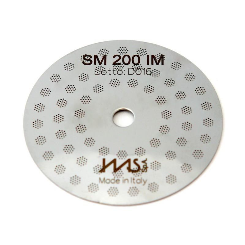 IMS SM 200 IM precizní sítko sprchy hlavy kávovaru ø 48 mm se středovým otvorem 5mm, 63 otvorů ø 3mm, Aisi 316 Stainless Steel, Food Safe Certified, integrovaná membrána 200 µM