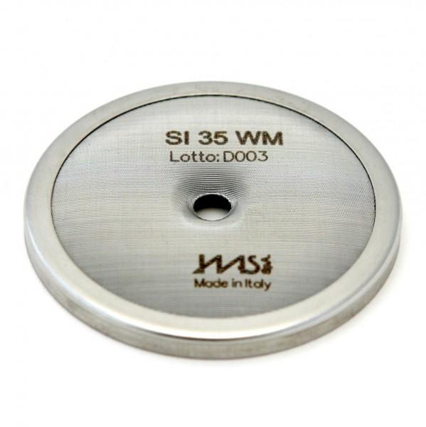 IMS SI 35 WM precizní sítko sprchy hlavy kávovaru ø 57.5 mm se středovým otvorem 6mm, 112 otvorů ø 2mm, Aisi 304 Stainless Steel, Food Safe Certified, integrovaná membrána 35 µM