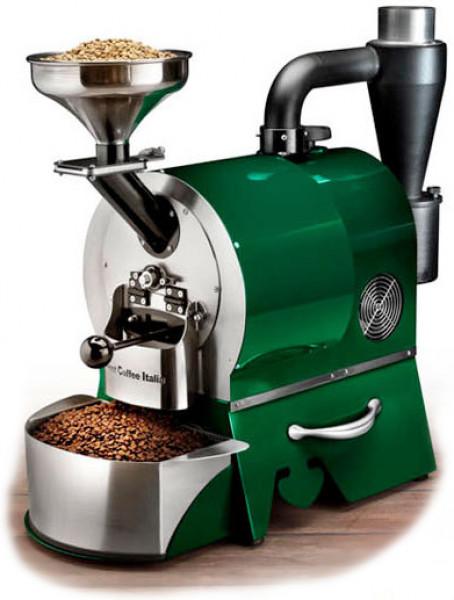 Plně automatický profesionální stroj pro pražení kávy značky Sweet Coffee Italia model GEMMA s kontrolním panelem a mikroprocesorovým řízením - barva zelená