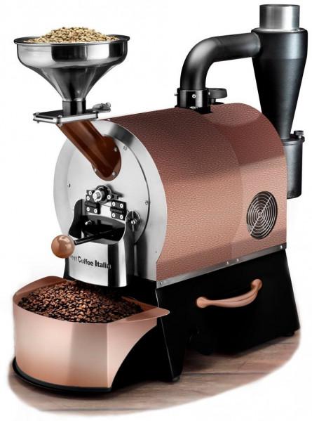 Plně automatický profesionální stroj pro pražení kávy značky Sweet Coffee Italia model GEMMA s kontrolním panelem a mikroprocesorovým řízením - barva měděná