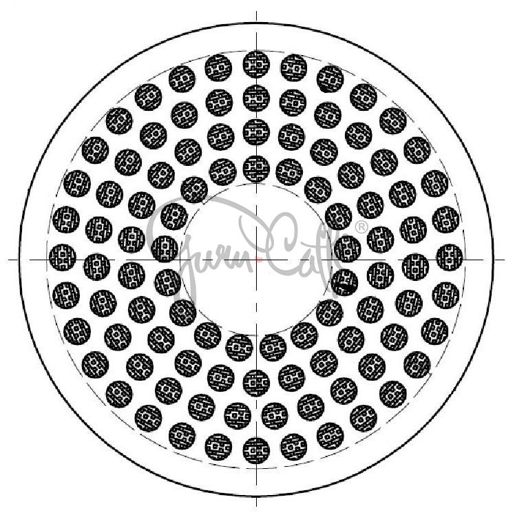 IMS SI 200 TC (PTFE Teflon Coated) precizní sítko sprchy hlavy kávovaru ø 56.5 mm se středovým otvorem 6mm, 98 otvorů ø 3mm, Aisi 316 Stainless Steel, Food Safe Certified, integrovaná membrána 200 µM