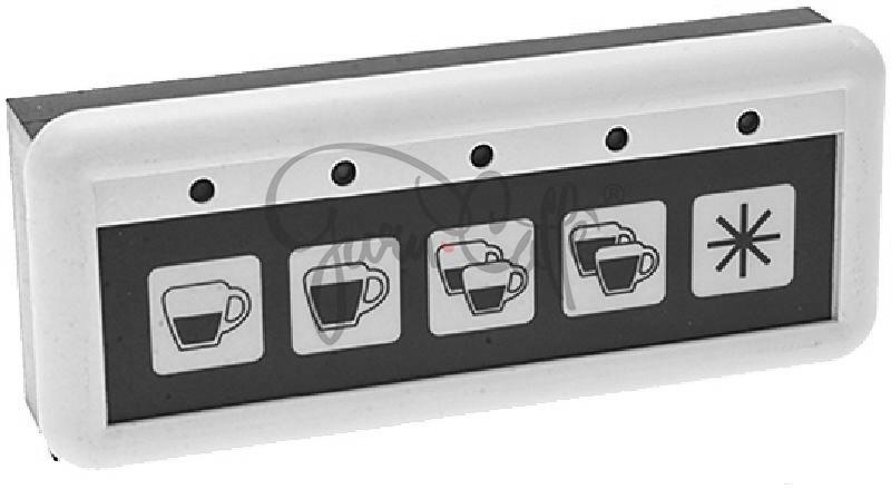 Panel ovládacích tlačítek kávovarů Expobar, Monroc a Reneka LC, membránové, 5 tlačítek