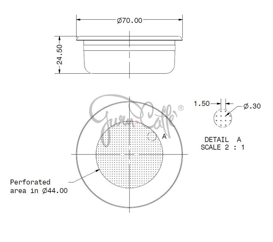 IMS B70 2T H24.5 M precizní filtrační miska dvouporcová, velikost dávky 12-18g, H24.5, Aisi 304 Stainless Steel, Food Safe Certified, odpovídající tamperu ø 58 mm