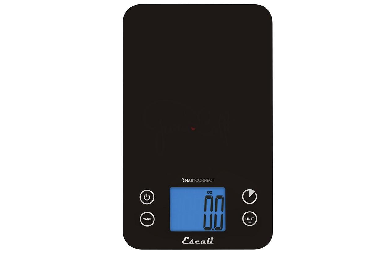 Digitální horizontální váha ESCALI Bluetooth SMART Connect s v provedení BLACK s váživostí 0g - 5000g/15LB/248OZ a přesností vážení 1g