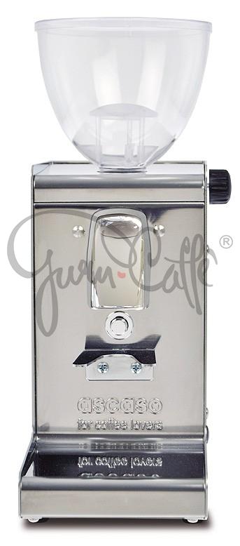 Profesionální nerezový přímý mlýnek na kávu Ascaso i-Steel s plochými kameny a časovačem leštěný nerez v novém provedení
